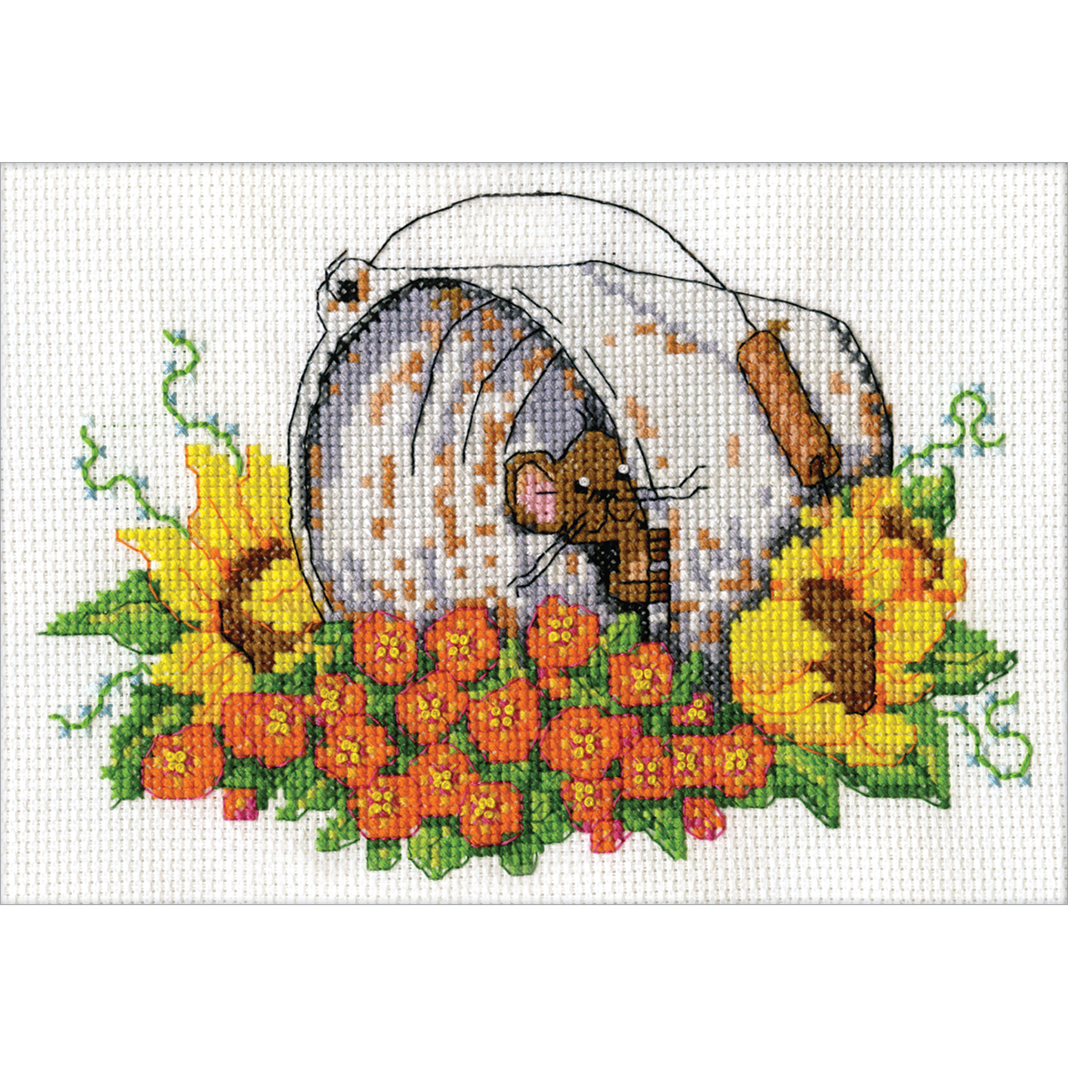 """Design Works Counted Cross Stitch Kit 5""""X7""""-Bucket Mouse Mini (14 Count)"""