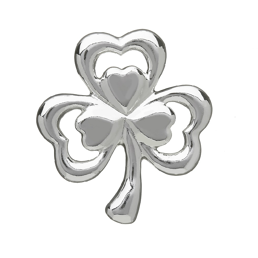 Double Shamrock Brooch Silver Plated Made in Ireland by Amethyst Dublin