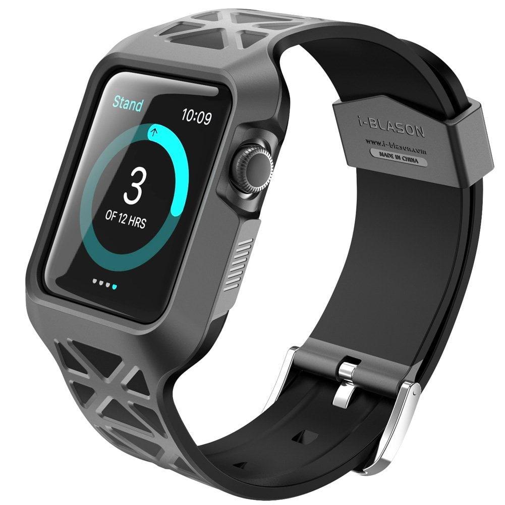 i-Blason Apple Watch Case and Wristwatch Band, Unity Series Premium Hybrid Protective Bumper Protective Case for Apple Watch 38 mm-Black