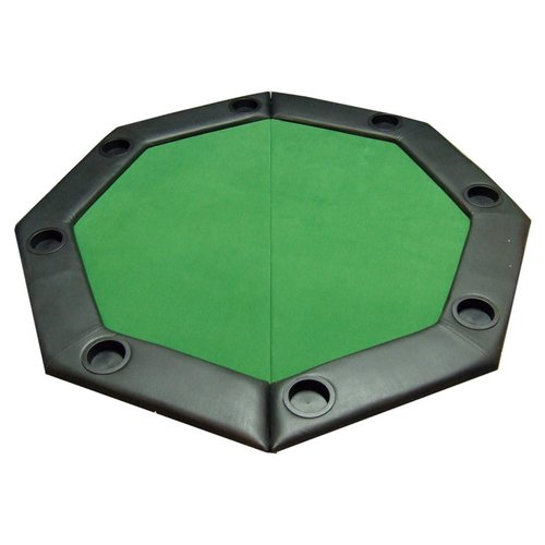 JP Commerce Padded Octagon Folding Poker Table Top with Cup Holders in Green by JP Commerce