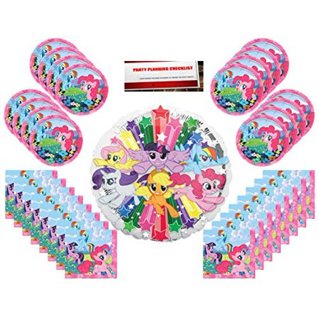 My Little Pony Birthday Party Supplies Bundle Pack for 16 with Large 17 inch Balloon Plus Party Planning Checklist by Mikes Super Store