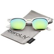 zeroUV - Premium Half Frame Colored Mirror Lens Horn Rimmed Sunglasses 50mm - 50mm