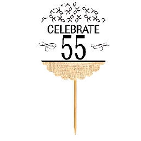 Anniversary Cupcake - 55th Birthday / Anniversary Novelty Burlap Cupcake Decoration Picks -12pack