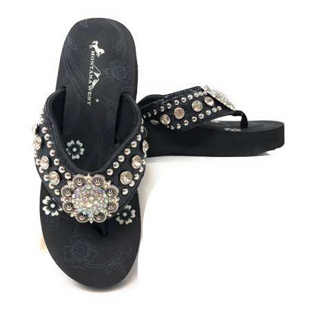 8491b03f1196 Montana West - Montana West Women Flip Flops Wedged Bling Sandals Large  Floral Concho Black - Walmart.com