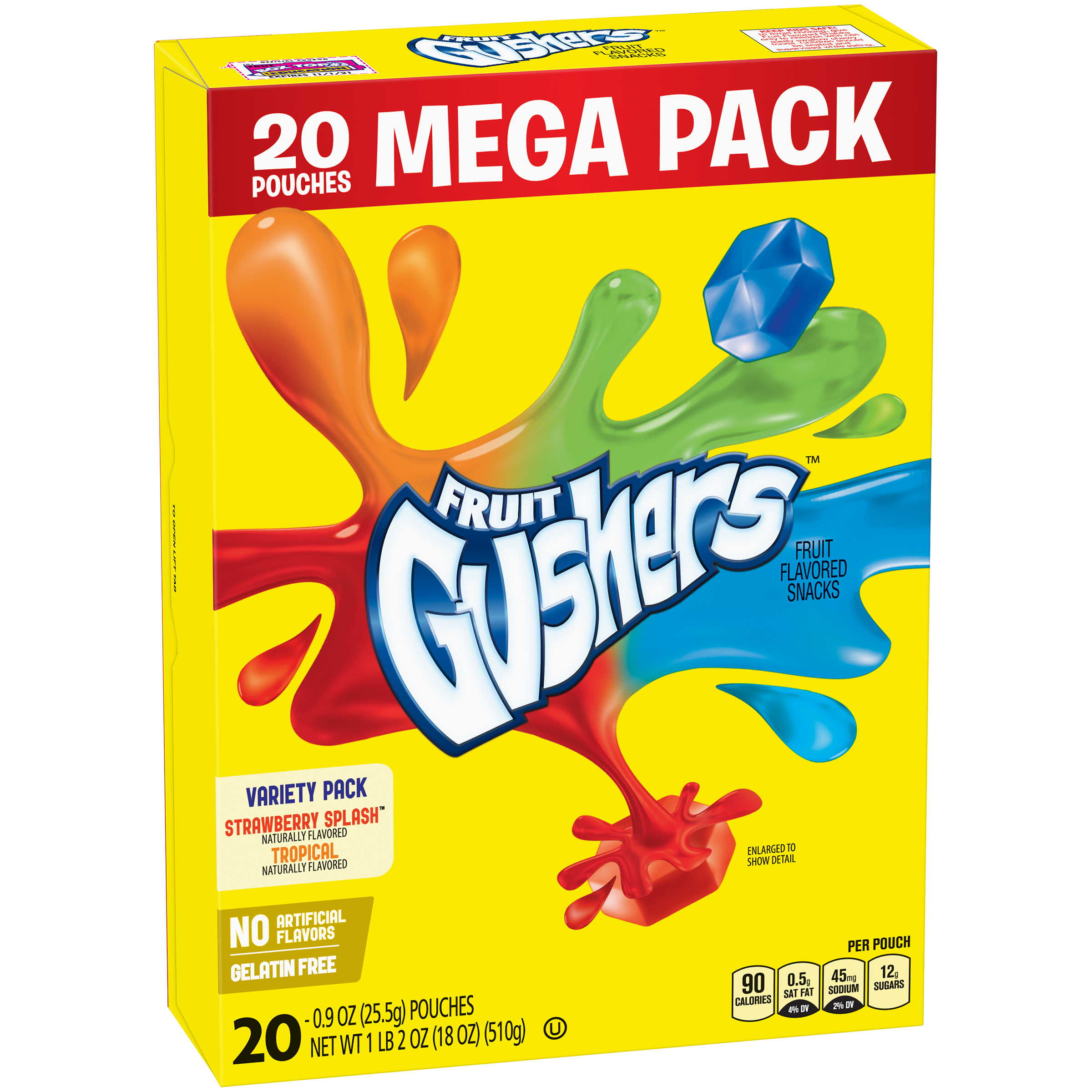 Betty Crocker�� Gushers Mega Pack, Strawberry Splash & Tropical Flavors, 20 Ct