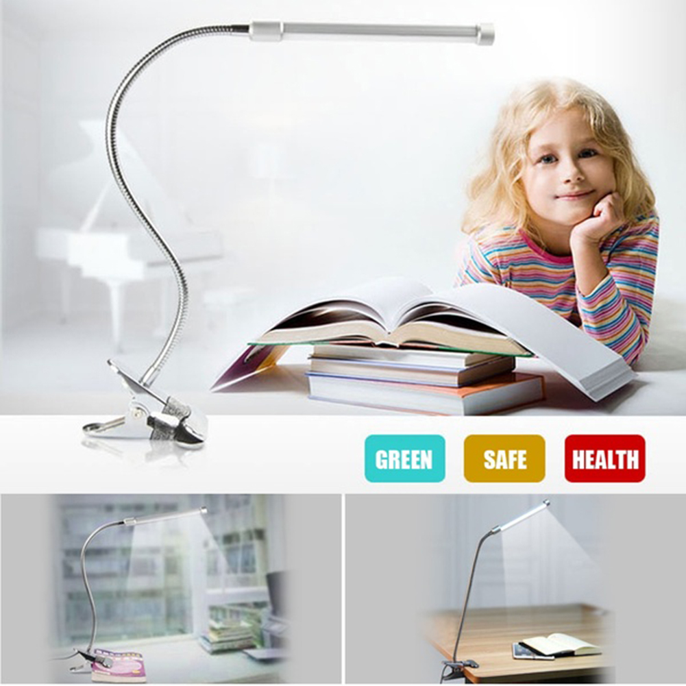 18LED Flexible USB Clip-on Table Lamp Clamp Reading Study Bed Laptop Desk Light by