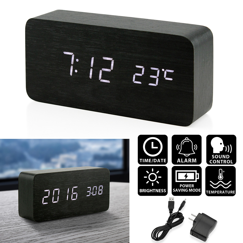 Oct17 Digital LED Wooden Desk Clock Alarm Snooze Voice Control Timer Thermometer Bamboo by Oct17