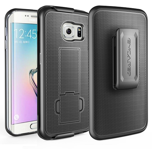 Galaxy S6 EDGE Belt Clip Case, Encased DuraCLIP [secure-fit] Holster w/ Slim Cover (Smooth Black)