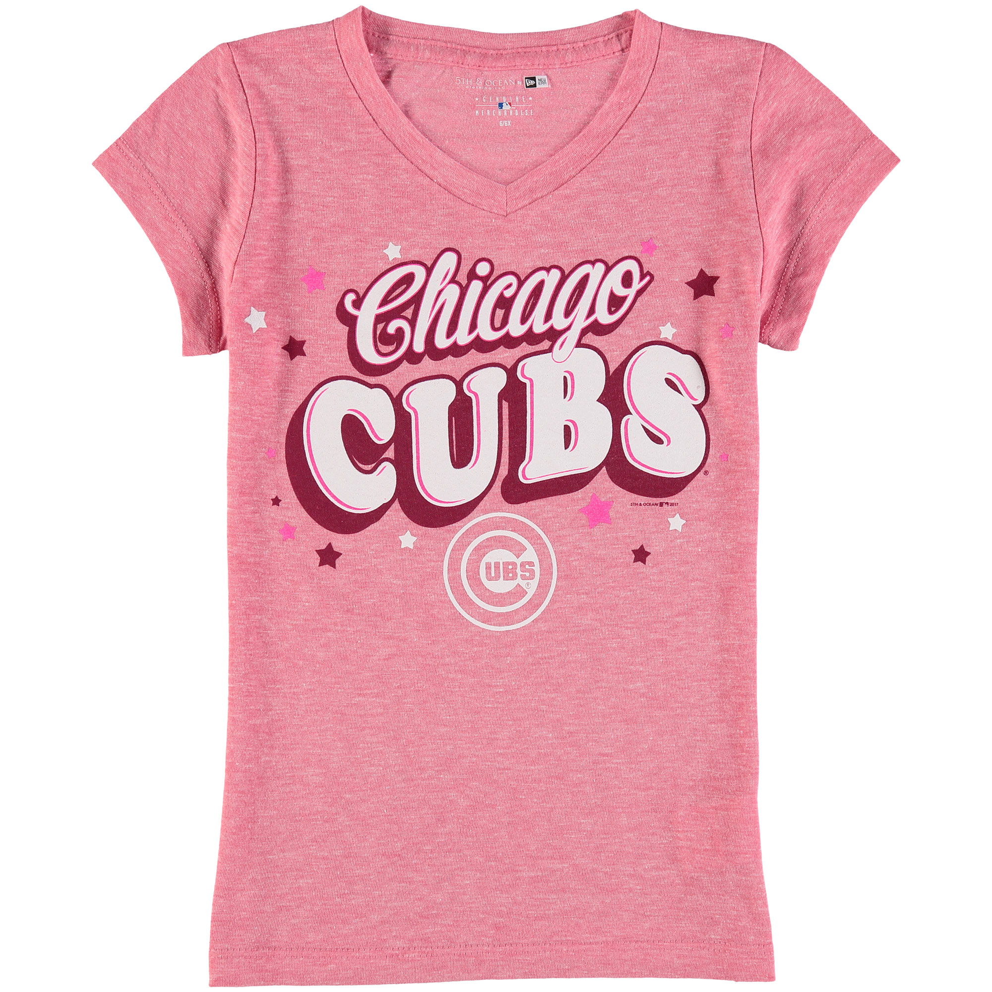 Chicago Cubs 5th & Ocean by New Era Girls Youth Stars Tri-Blend V-Neck T-Shirt - Pink