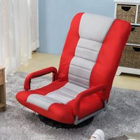 AOOLIVE Swivel Video Rocker Gaming Chair Adjustable 7-Position Floor Chair Folding Sofa Lounger/padded in soft polyester fiber and sponge, Red