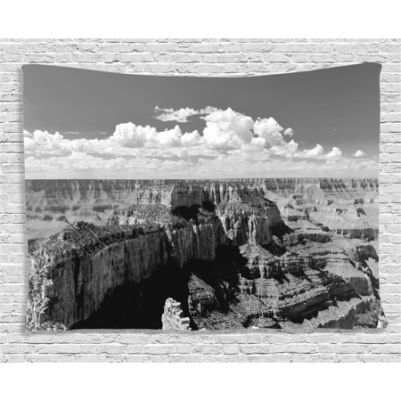House Decor Tapestry, Nostalgic Photo of Ethnic Finding Grand Canyon Peaks in National Park with Cloud, Wall Hanging for Bedroom Living Room Dorm Decor, 80W X 60L Inches, Grey, by Ambesonne