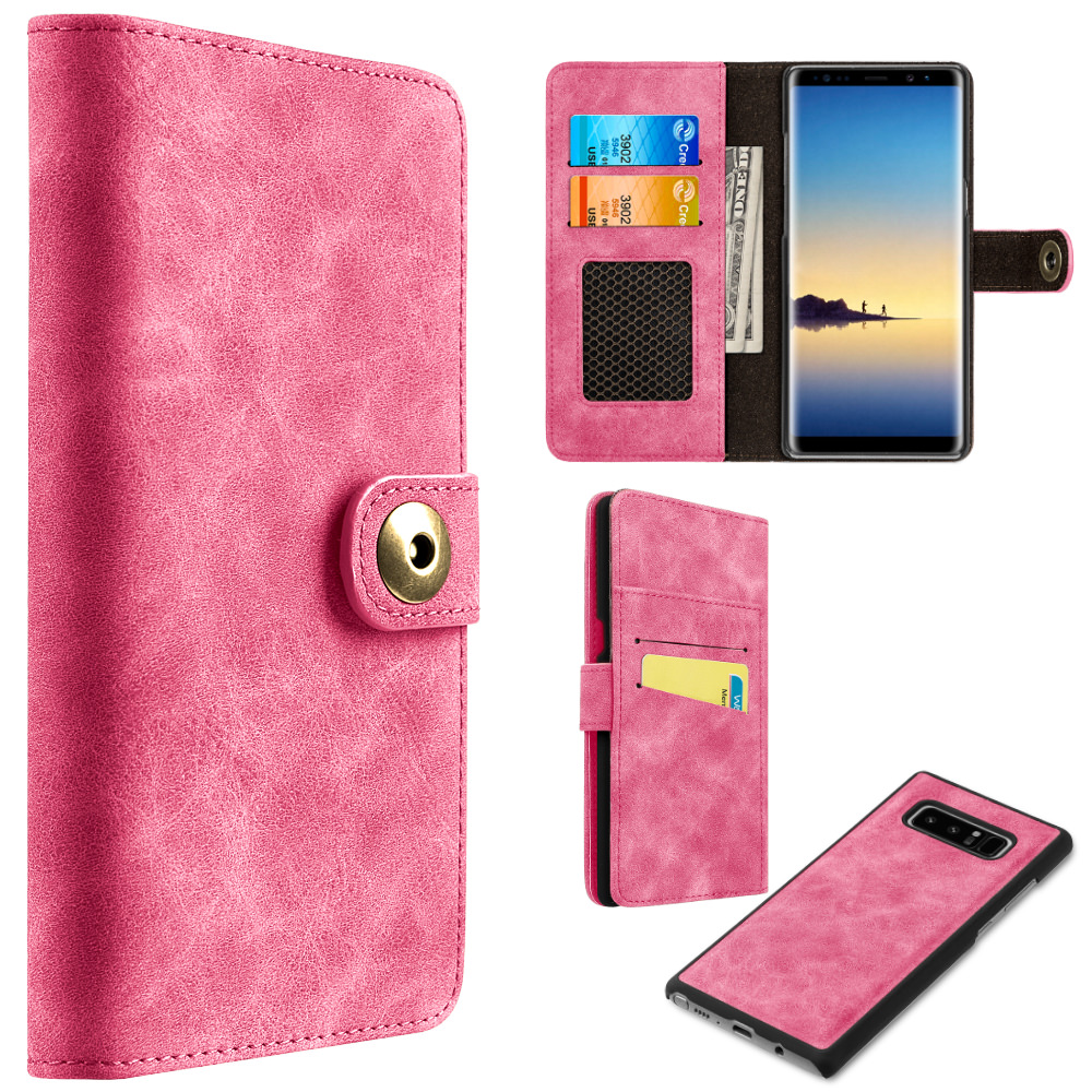 MUNDAZE Pink Detachable Magnetic Storage Wallet Flip Case For Samsung Galaxy Note 8 Phone