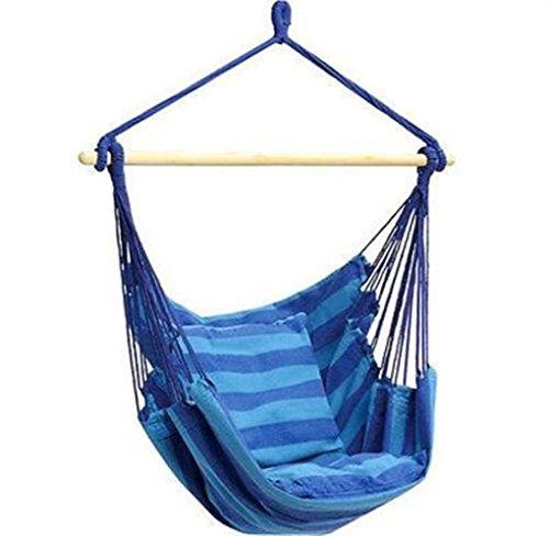 eastmagic new blue hanging padded rope chair porch swing seat patio camping max 265 lbs (blue)