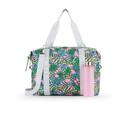 No Boundaries Coral Palm Leaf Gym Bag with - Gym Bag Logo Chair