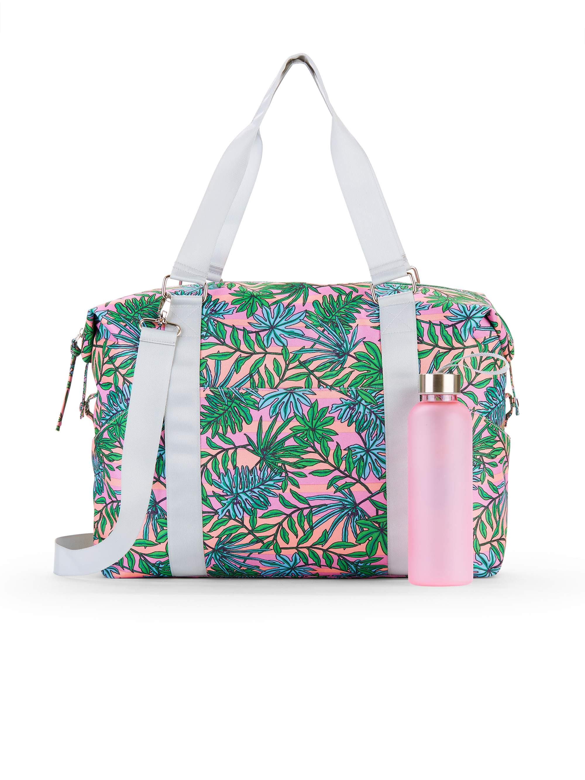 No Boundaries Coral Palm Leaf Gym Bag with Waterbottle