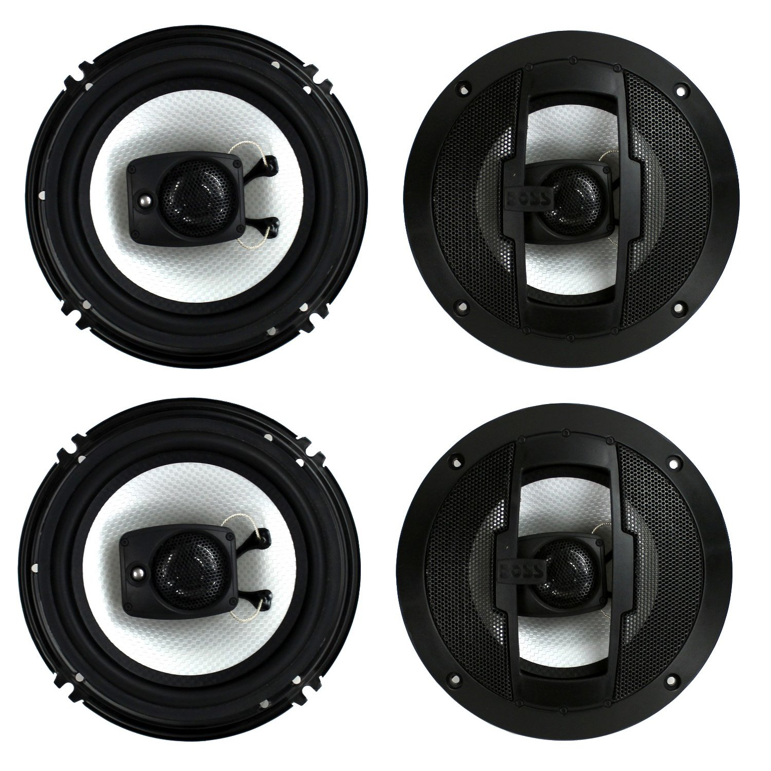 "4)  Boss Riot R63 6.5"" 600W 3 Way Car Audio Coaxial Speakers Stereo 4 Ohm"