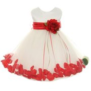 Baby Girls Ivory Red Satin Petal Floating Flower Girl Dress 18M