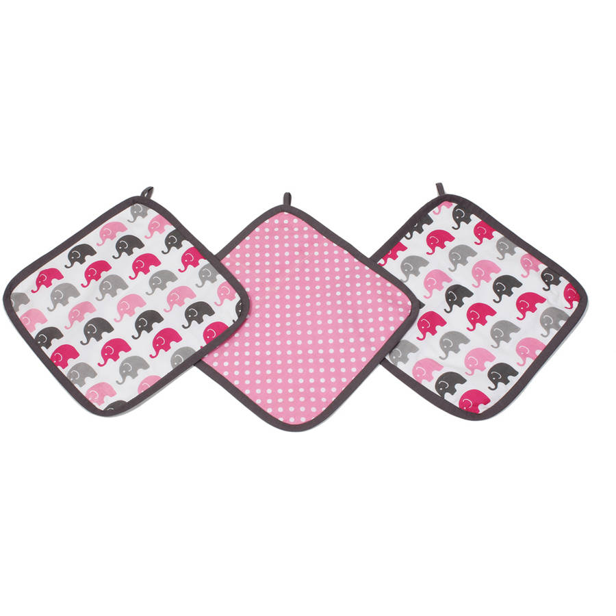 Bacati Elephants Pink/Grey 3-Piece Wash Cloth