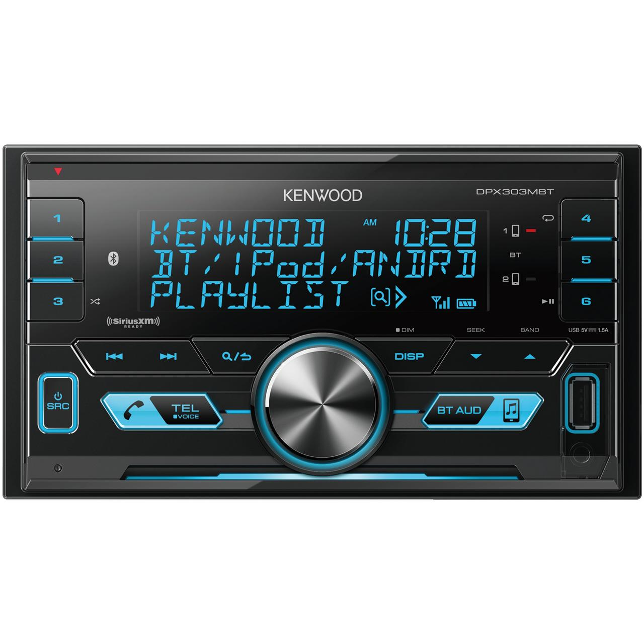 KENWOOD DPX303MBT Double-DIN In-Dash Digital Media Receiver with Bluetooth & SiriusXM Ready by Kenwood