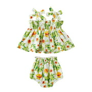Seyurigaoka Girl's Summer Two Piece Set Sweet Strawberry or Flower Lace-up