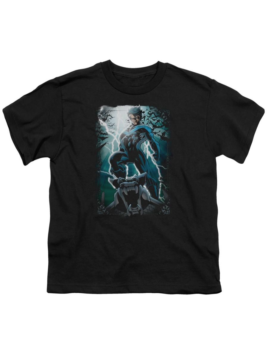 Batman Night Light T-shirt Trevco Black Kids Unisex 100% Cotton Short Sleeve