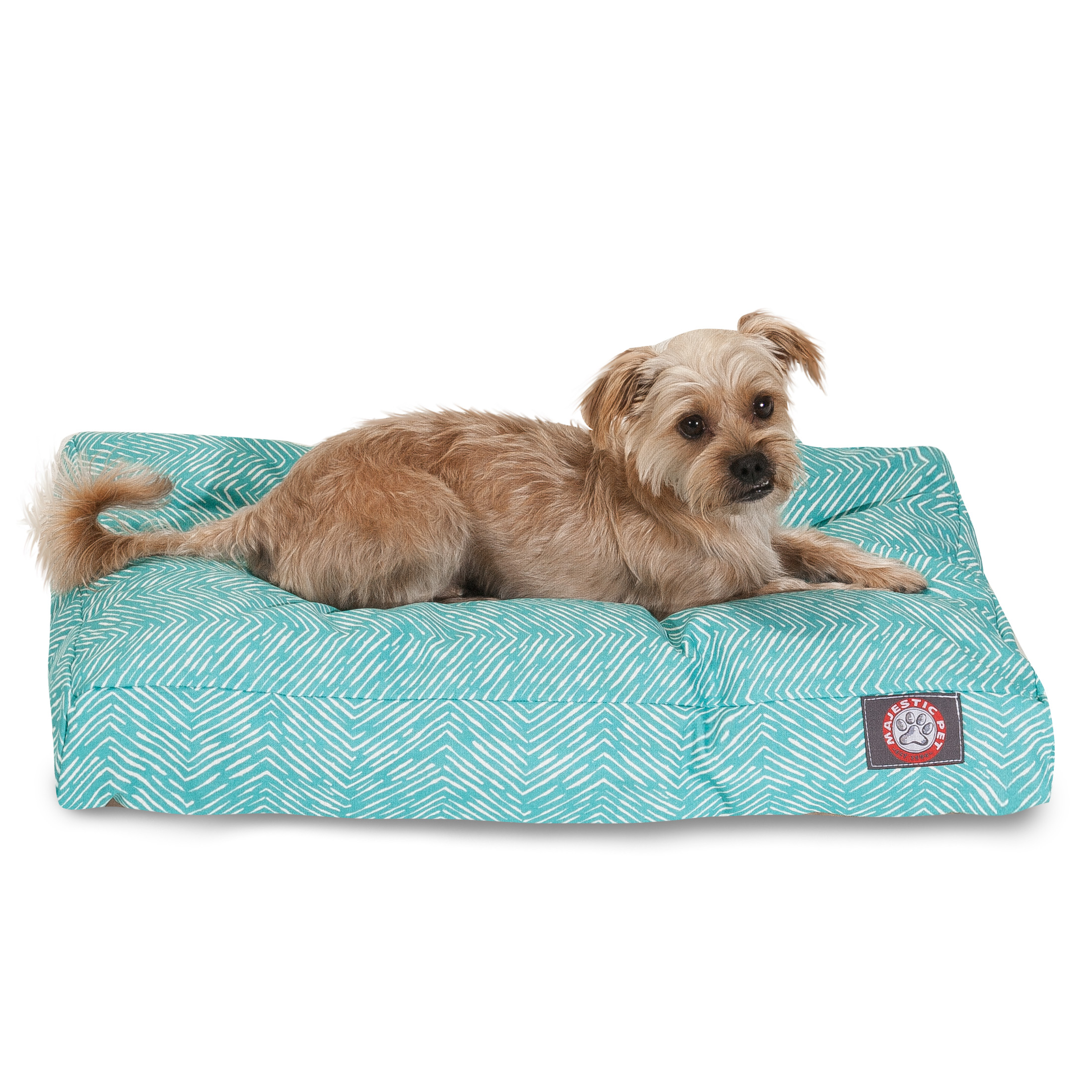"""Majestic Pet South West Rectangle Dog Bed Treated Polyester Removable Cover Teal Medium 36"""" x 29"""" x 4"""""""