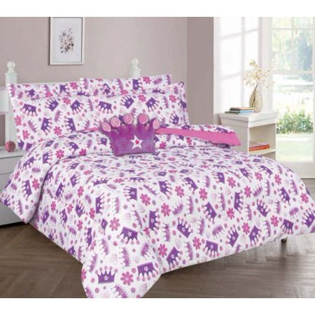 8-PC FULL CROWN Complete Bed In A Bag Comforter Bedding Set With Furry Friend and Matching Sheet Set for Kids