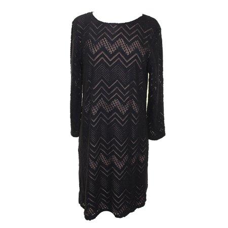 Studio M Black Long Sleeve Zig Zag Lace Dress L Walmart