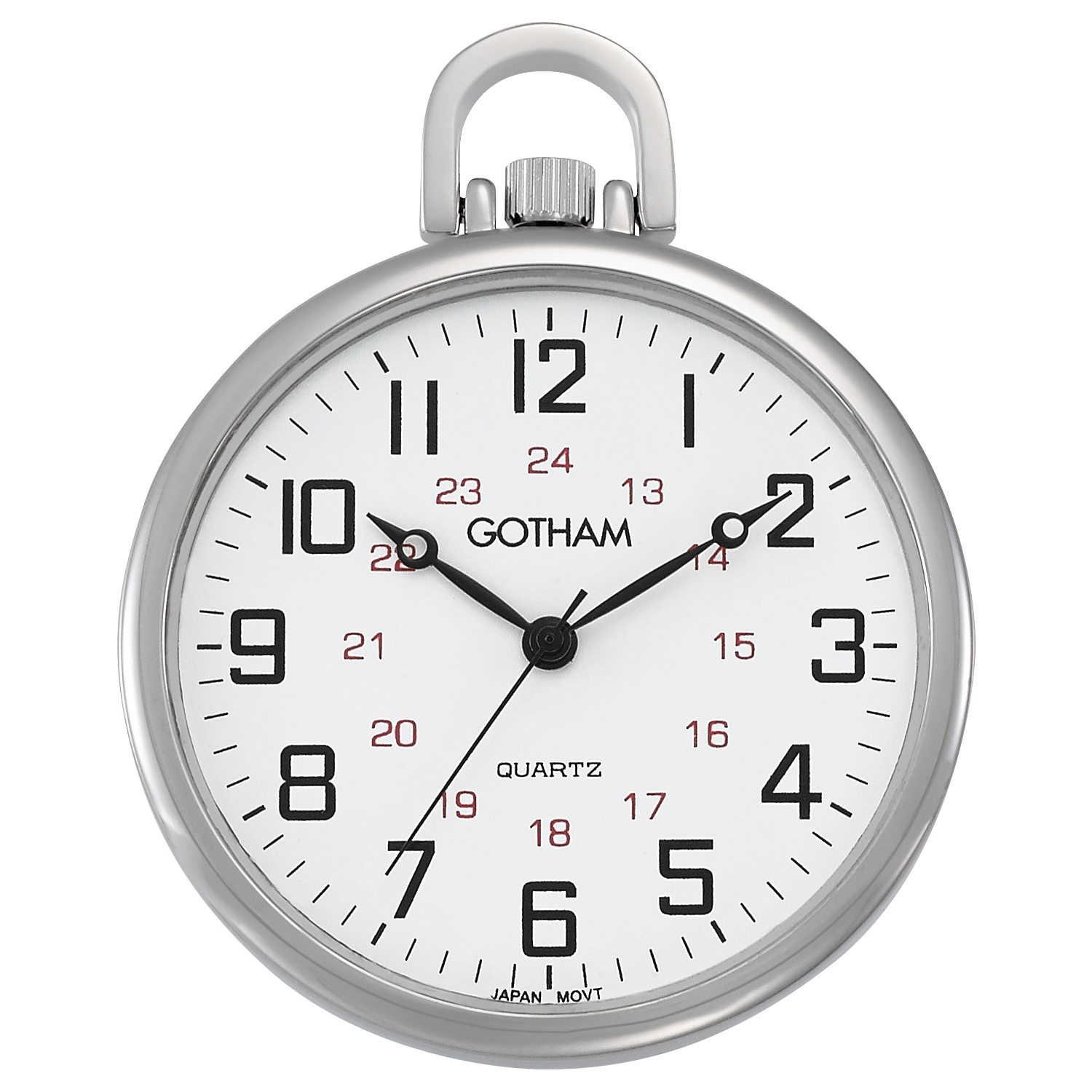 Gotham Men's Railroad Open Face Silver-Tone Analog Quartz Pocket Watch with Chain # GWC15026S