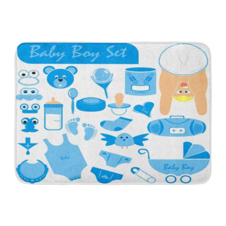 GODPOK Baby Boy Great Collection Including Body Face in Nice Position Wearing Diaper Stroller Pacifier Rattle Rug Doormat Bath Mat 23.6x15.7 inch