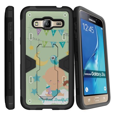 Samsung Galaxy J3, Galaxy Sky Dual Layer Shock Resistant MAX DEFENSE Heavy Duty Case with Built In Kickstand - My Sweat Breakfast for $<!---->