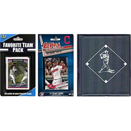 C & I Collectables 2017INDIANSTSC MLB Cleveland Indians Licensed 2017 Topps Team Set & Favorite Player Trading Cards Plus Storage Album