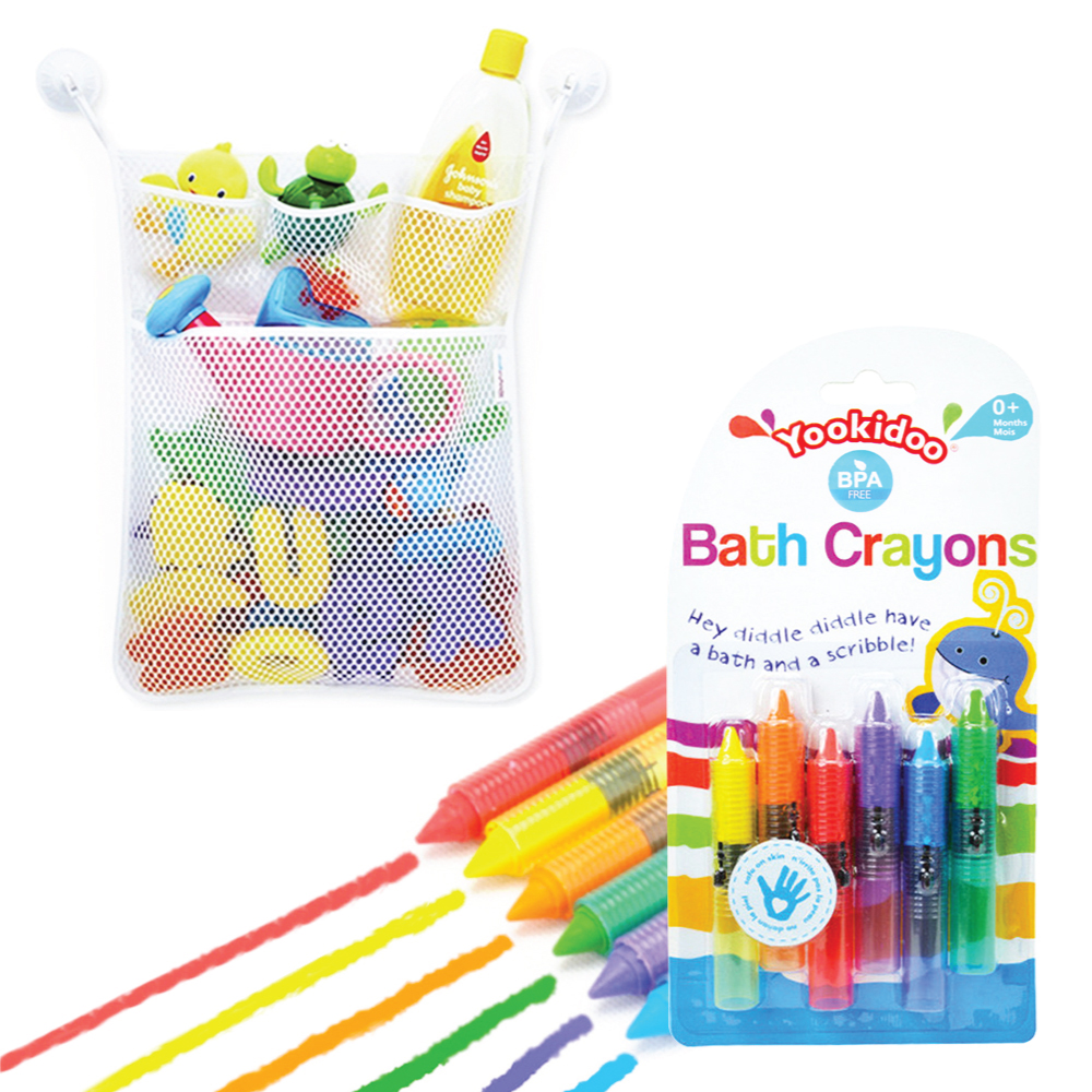 Eutuxia Baby Bath Combo. Bathtub Crayons + Toy Organizer. Includes Mesh Net Bag, 4 Lock... by Eutuxia