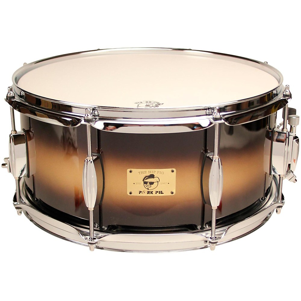 Pork Pie Hip Pig Eastern Mahogany Snare Drum 14 x 6.5 in. Black Gold Duco Finish by Pork Pie