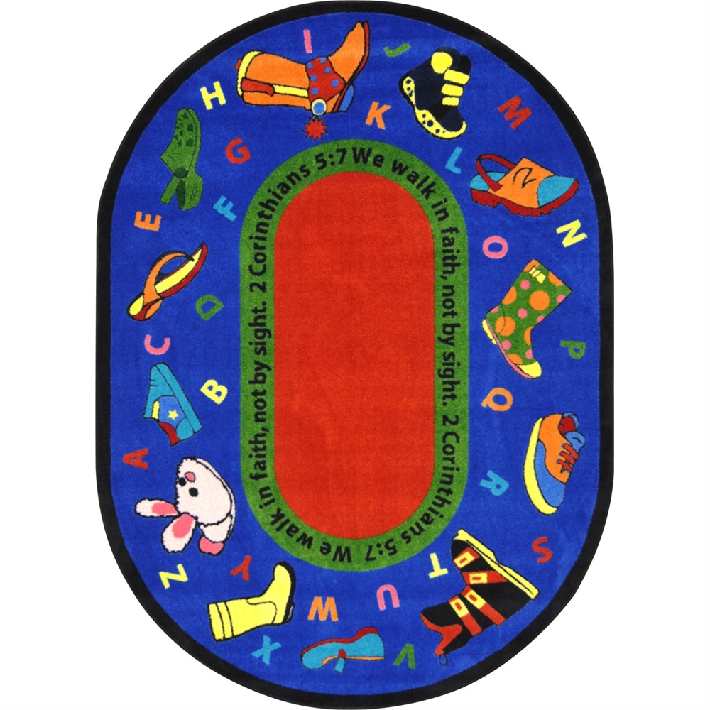 """Kid Essentials - Inspirational Area Rugs Walk In Faith, 7'8"""" x 10'9"""" Oval, Multicolored"""