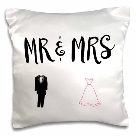 Mr & Mrs Pillows (3dRose Mr. and Mrs. With tux and dress - Pillow Case, 16 by)