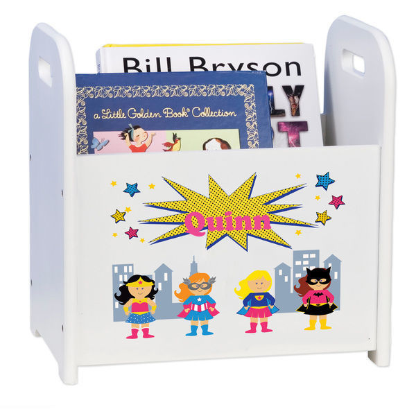 Personalized Girls Superhero White Book Caddy and Rack