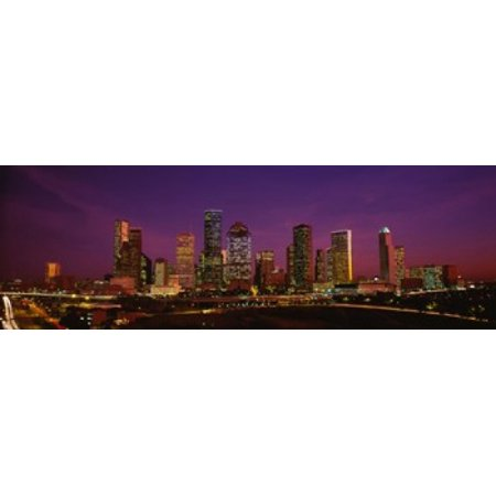 Buildings lit up at night Houston Texas USA Canvas Art - Panoramic Images (18 x 6)