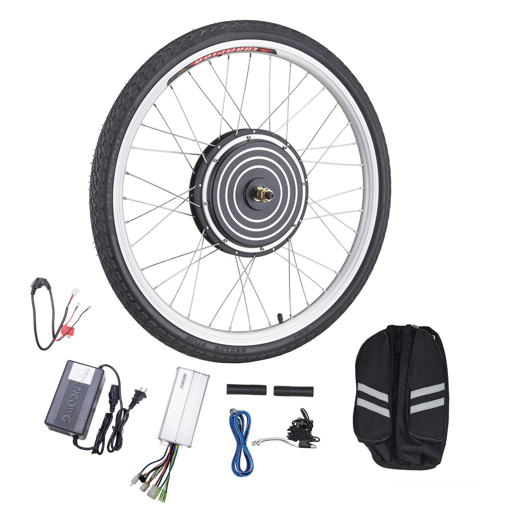 "26""x1.8"" Front or Rear Wheel Ebike Hub Motor Conversion Kit with Dual Mode Controller, 36V 500W or 48V 1000W"