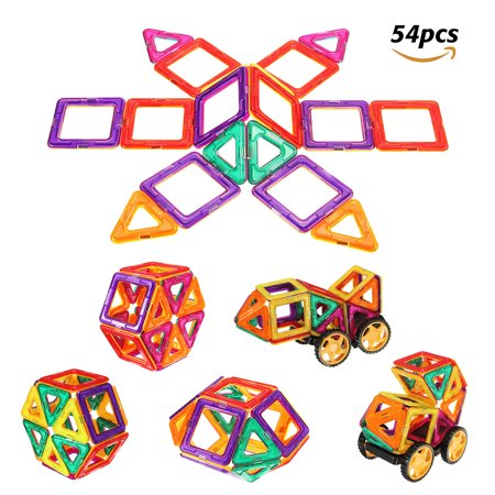 54Pcs 3D Magnetic Tiles Set Magnetic Building Blocks Toys - Educational Tiles Block Toy Kit for Preschool Kids Boys and Girls