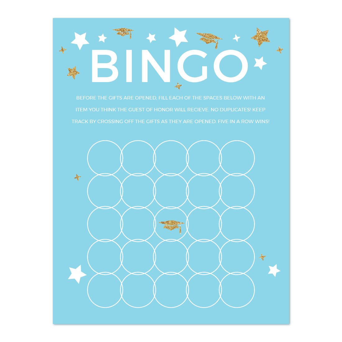 Baby Blue and Gold Glittering Graduation Party, Graduation Bingo Game Cards, 20-Pack, Games