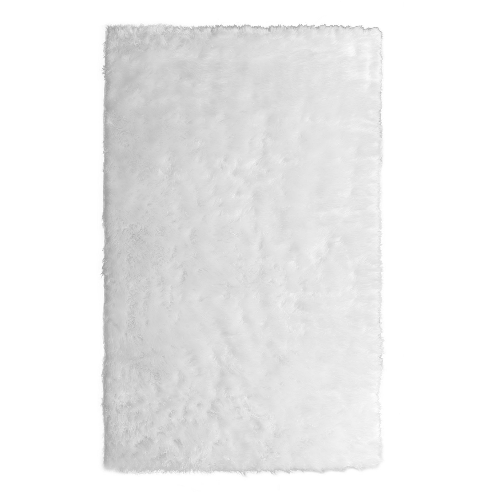 Aileen Faux Sheepskin Fur Area Rug White Rectangular 8x5 by Glamour Home