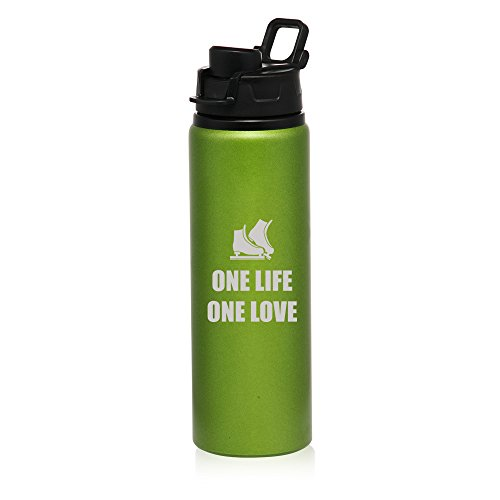25 oz Aluminum Sports Water Travel Bottle One Life Ice Skating (Green) by