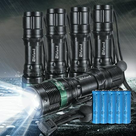 Elfeland 5-Pack 2000 Lumens T6 LED Flashlight Torch Tactical Light Zoom Adjustable Focus Super Bright 3 Modes