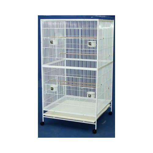 YML 1/2 in. Bar Spacing Flat Top Aviary Cage - White