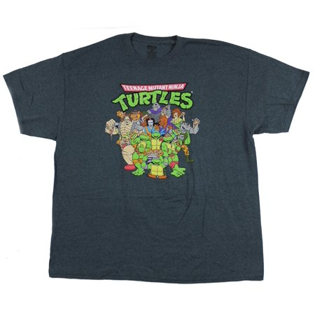 Teenage Mutant Ninja Turtles Mens T-Shirt - Giant Full Color Cartoon Cast (XXXXX-Large, XXXXX-Large)