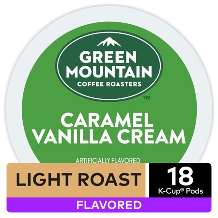 Green Mountain Coffee Caramel Vanilla Cream, Flavored Keurig K-Cup Pod, Light Roast, 18