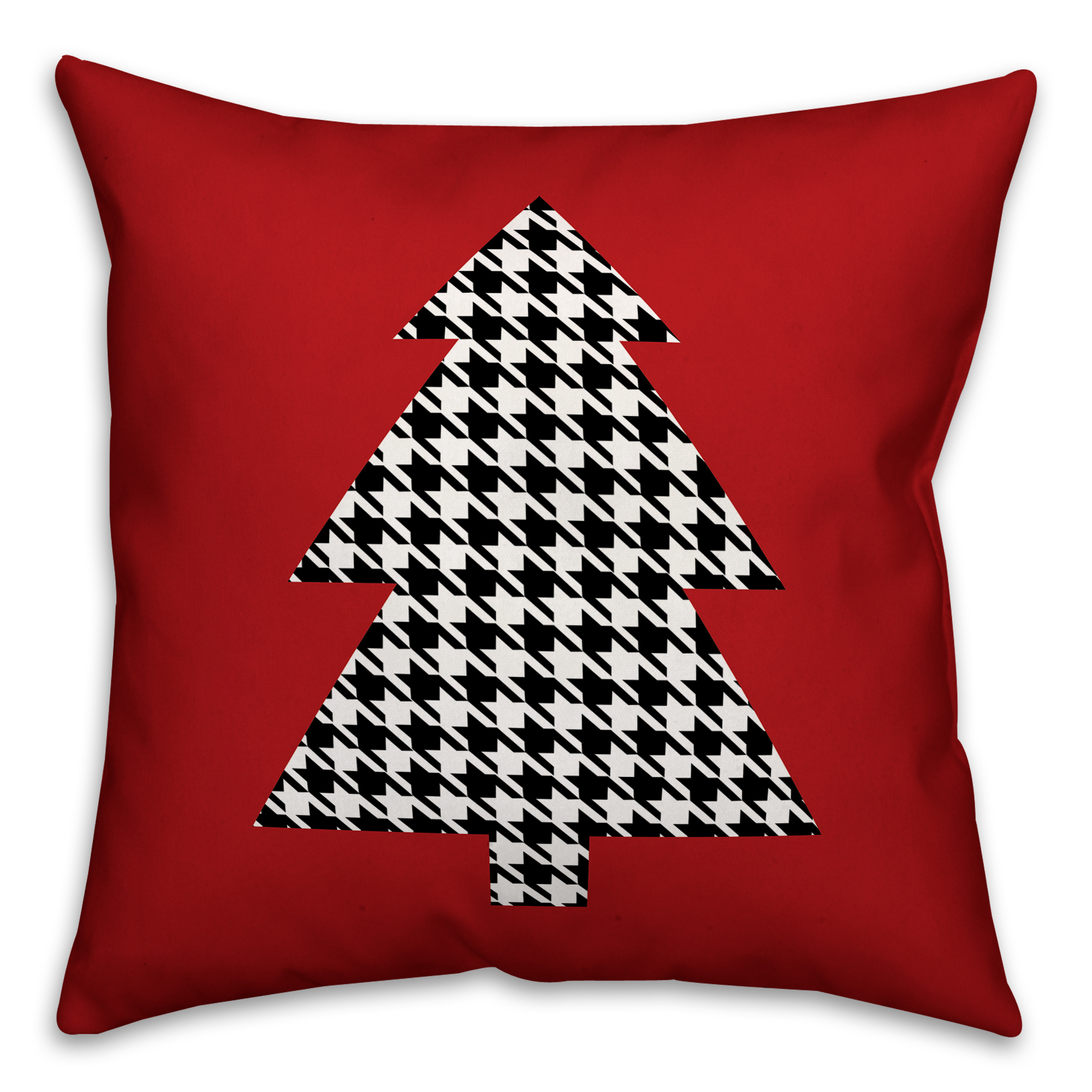 Houndstooth Christmas Tree 16x16 Spun Poly Pillow Cover