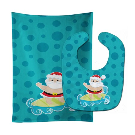 Beach Santa Claus Surfer #2 Baby Bib & Burp Cloth ()
