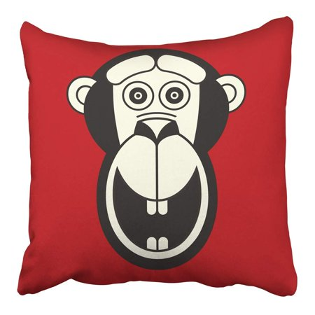 White Faced Monkey (CMFUN Abstract Red White Black Monkey Face Flat Animal Chinese Zodiac Year Sign Ape Pillowcase Cushion Cover 16x16 inch )